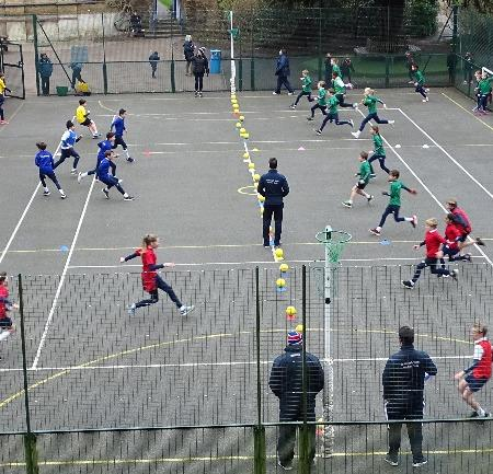 Image of student playing dodgeball - St George's School Windsor