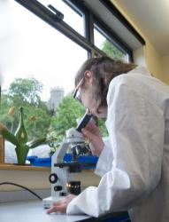 Image of Science girl with microscope - St George's School Windsor